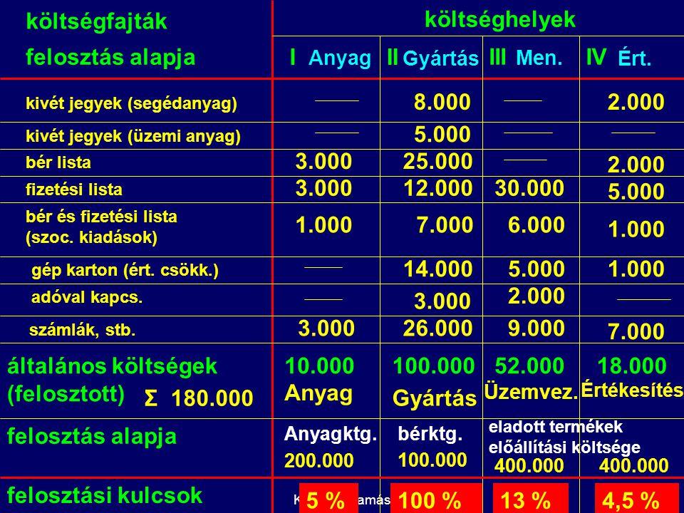 Kelemen Tamás felosztás alapja költséghelyek kivét jegyek (segédanyag) kivét jegyek (üzemi anyag) bér lista fizetési lista bér és fizetési lista (szoc.