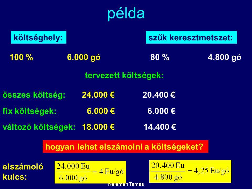Kelemen Tamás példa költséghely: 100 %6.000 gó szűk keresztmetszet: 80 %4.800 gó tervezett költségek: 24.000 €20.400 € fix költségek:6.000 € változó költségek:18.000 € 6.000 € 14.400 € összes költség: hogyan lehet elszámolni a költségeket.