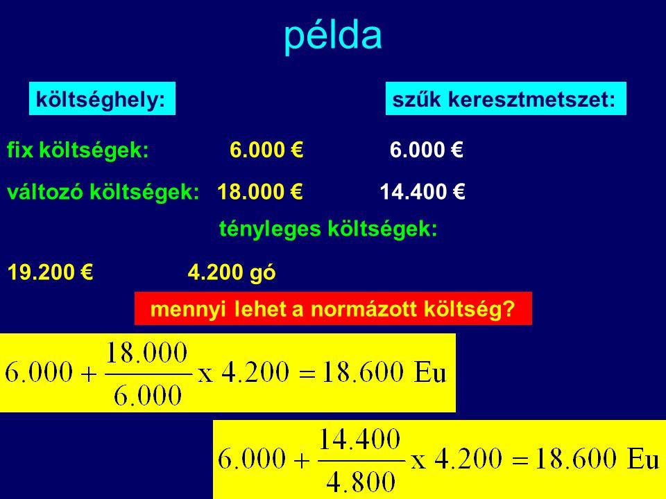 Kelemen Tamás példa költséghely:szűk keresztmetszet: tényleges költségek: 4.200 gó19.200 € mennyi lehet a normázott költség? fix költségek:6.000 € vál