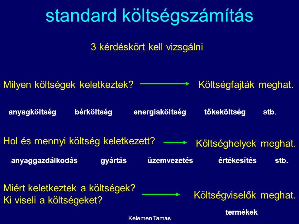 Kelemen Tamás standard költségszámítás merev standard költségszámítás rugalmas standard költségszámítás cél:szabványosítani a költségeket fix elszámoló árral dolgozik