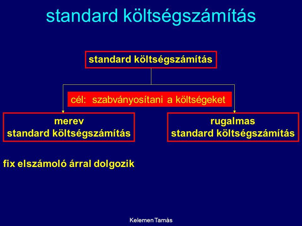 Kelemen Tamás standard költségszámítás merev standard költségszámítás rugalmas standard költségszámítás cél:szabványosítani a költségeket fix elszámol