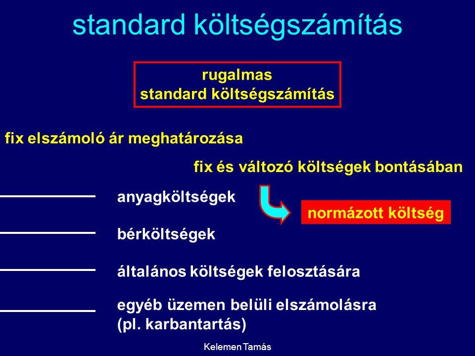 Kelemen Tamás standard költségszámítás rugalmas standard költségszámítás fix elszámoló ár meghatározása anyagköltségek bérköltségek általános költségek felosztására egyéb üzemen belüli elszámolásra (pl.