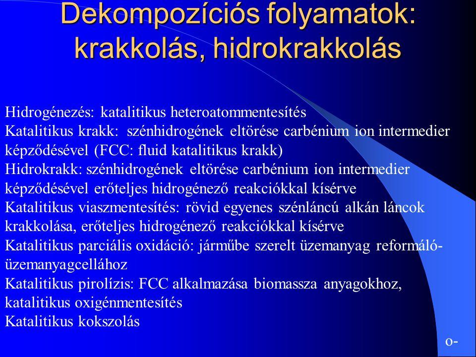 Dekompozíciós folyamatok: krakkolás, hidrokrakkolás Hidrogénezés: katalitikus heteroatommentesítés Katalitikus krakk: szénhidrogének eltörése carbéniu