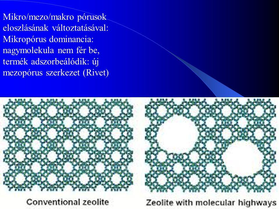 30 Mikro/mezo/makro pórusok eloszlásának változtatásával: Mikropórus dominancia: nagymolekula nem fér be, termék adszorbeálódik: új mezopórus szerkeze