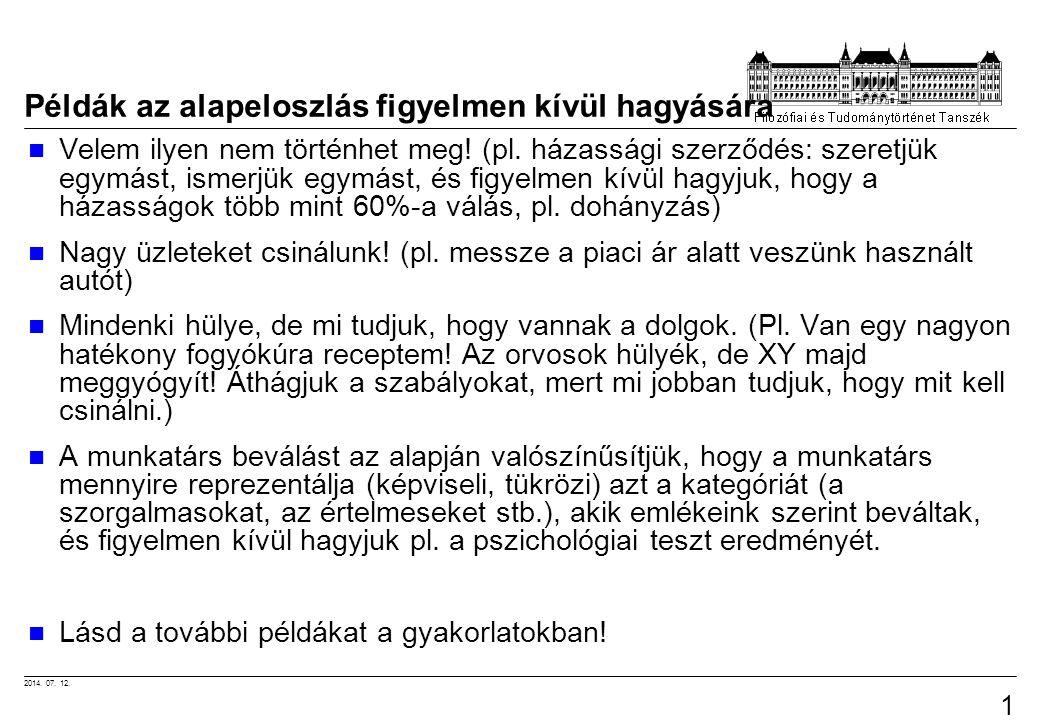 2014. 07. 12. 10 Példák az alapeloszlás figyelmen kívül hagyására Velem ilyen nem történhet meg.