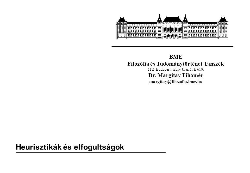 BME Filozófia és Tudománytörténet Tanszék 1111 Budapest, Egry J.. u. 1. E 610. Dr. Margitay Tihamér margitay@filozofia.bme.hu Heurisztikák és elfogult