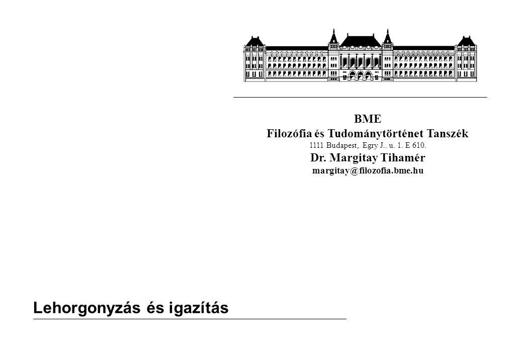 BME Filozófia és Tudománytörténet Tanszék 1111 Budapest, Egry J.. u. 1. E 610. Dr. Margitay Tihamér margitay@filozofia.bme.hu Lehorgonyzás és igazítás