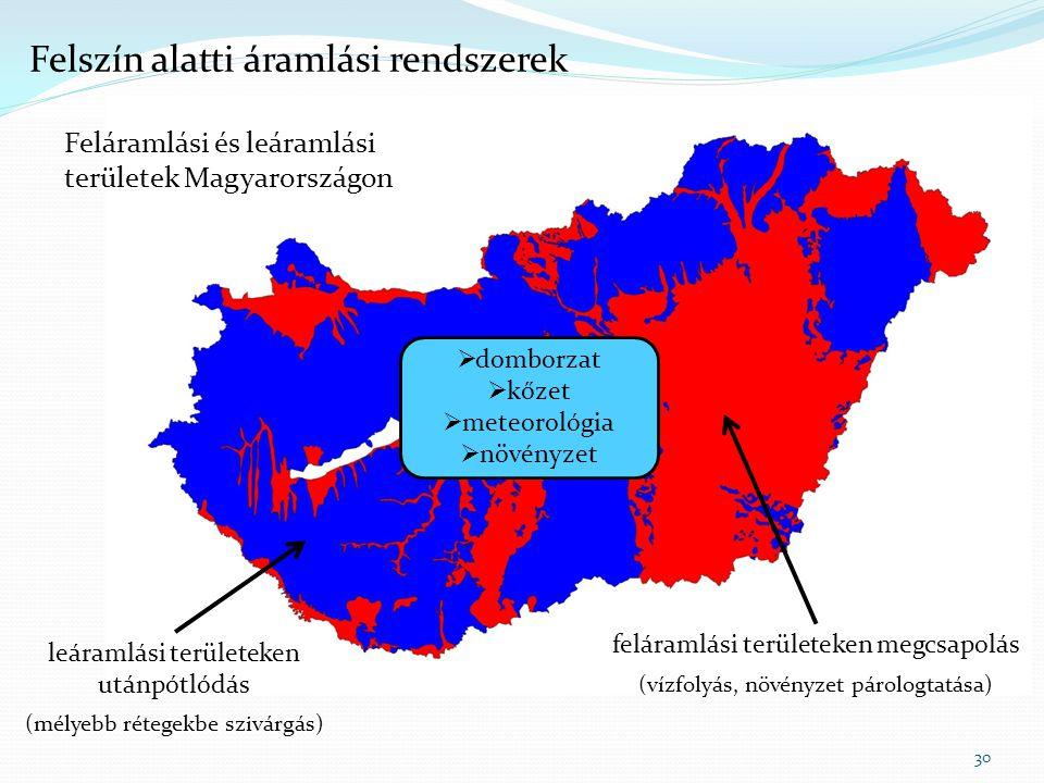 Feláramlási és leáramlási területek Magyarországon 30 Felszín alatti áramlási rendszerek feláramlási területeken megcsapolás (vízfolyás, növényzet pár