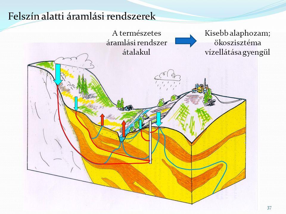 37 Felszín alatti áramlási rendszerek A természetes áramlási rendszer átalakul Kisebb alaphozam; ökoszisztéma vízellátása gyengül