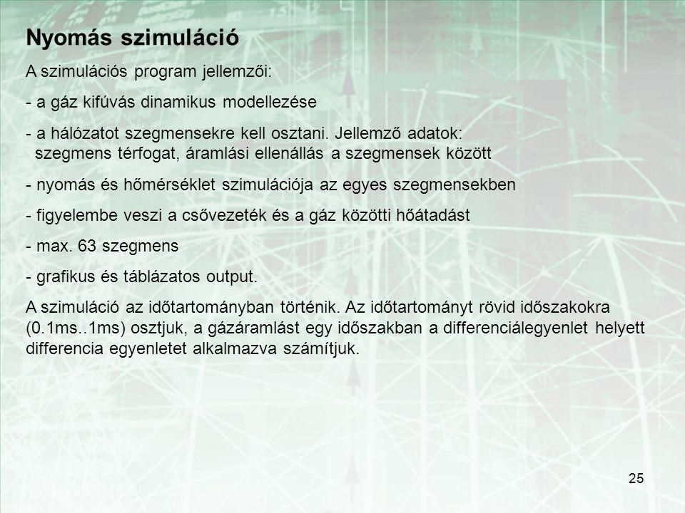 25 Nyomás szimuláció A szimulációs program jellemzői: - a gáz kifúvás dinamikus modellezése - a hálózatot szegmensekre kell osztani. Jellemző adatok: