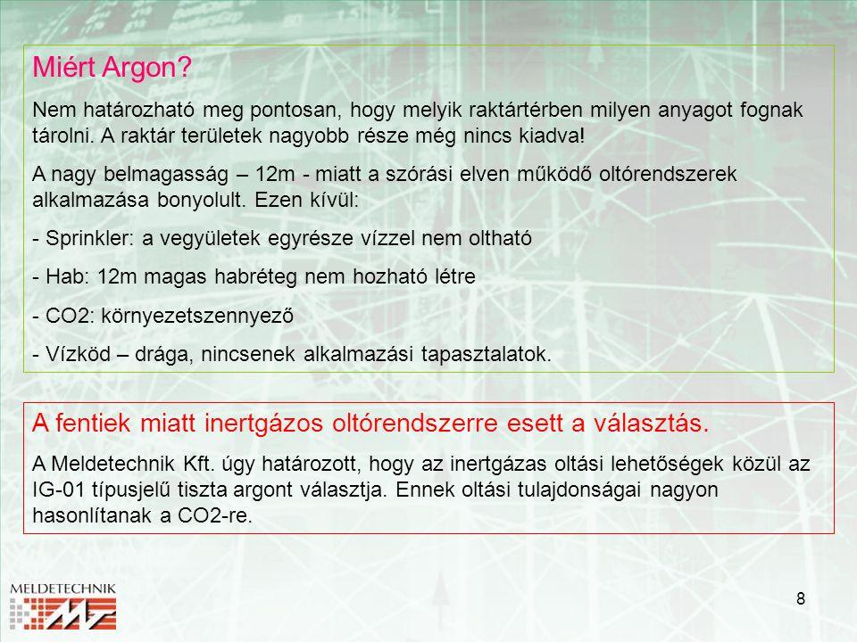 8 Miért Argon? Nem határozható meg pontosan, hogy melyik raktártérben milyen anyagot fognak tárolni. A raktár területek nagyobb része még nincs kiadva