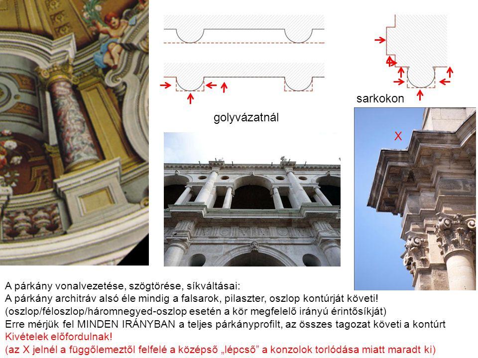 A párkány vonalvezetése: 1.A pilaszterhez illeszkedik (az ablakok feletti szakaszon is) 2.Az oszlop kontúrvonalát követi, a sarkon derékszögben fordul 3.A tympanon szakaszán enyhe szögtörésben befordul a másik oszlop felé* *A kép értelmezhető úgy is, hogy a tympanon vonala követi az alaprajz körívét – több jó megoldás.