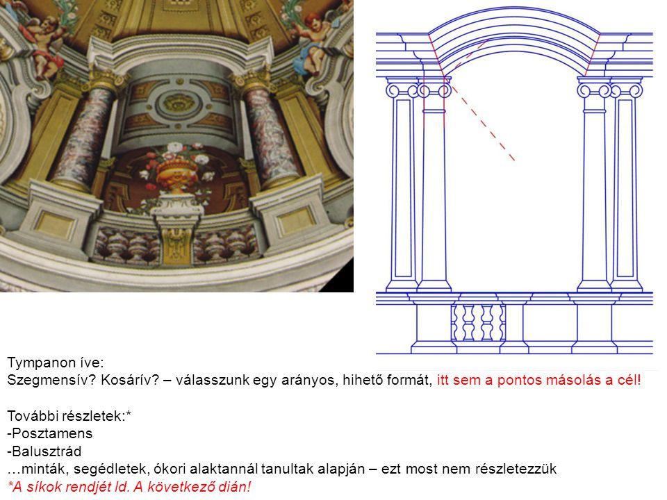 Oszloprend – síkok rendje entázis (sudarasodás) architráv síkja = oszloptörzs felső érintősíkja talplemez síkja = posztamens törzs síkja attika lábazat síkja = architráv sík