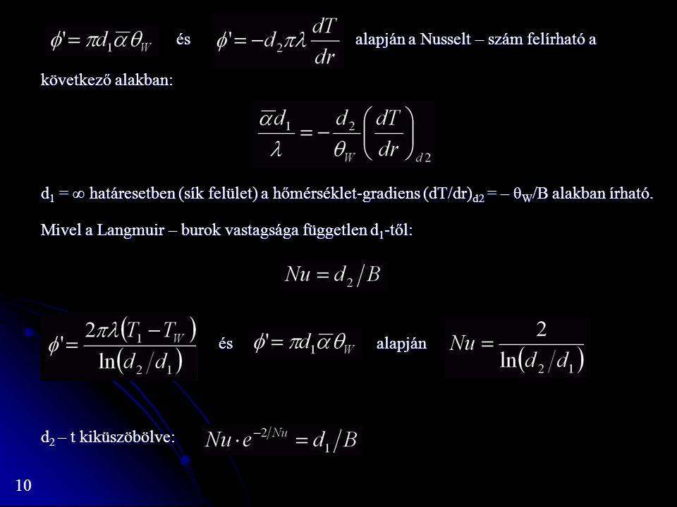 10 és alapján a Nusselt – szám felírható a következő alakban: és alapján a Nusselt – szám felírható a következő alakban: d 1 = ∞ határesetben (sík felület) a hőmérséklet-gradiens (dT/dr) d2 = – θ W /B alakban írható.