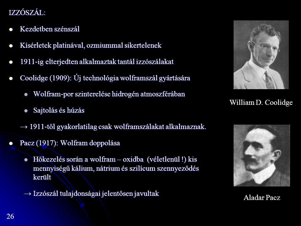 26 IZZÓSZÁL: Kezdetben szénszál Kezdetben szénszál Kísérletek platinával, ozmiummal sikertelenek Kísérletek platinával, ozmiummal sikertelenek 1911-ig elterjedten alkalmaztak tantál izzószálakat 1911-ig elterjedten alkalmaztak tantál izzószálakat Coolidge (1909): Új technológia wolframszál gyártására Coolidge (1909): Új technológia wolframszál gyártására Wolfram-por szinterelése hidrogén atmoszférában Wolfram-por szinterelése hidrogén atmoszférában Sajtolás és húzás Sajtolás és húzás → 1911-től gyakorlatilag csak wolframszálakat alkalmaznak.