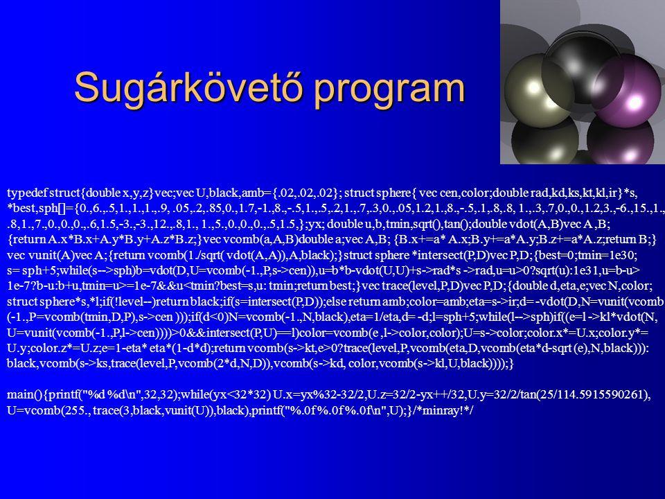 Sugárkövető program typedef struct{double x,y,z}vec;vec U,black,amb={.02,.02,.02}; struct sphere{ vec cen,color;double rad,kd,ks,kt,kl,ir}*s, *best,sp