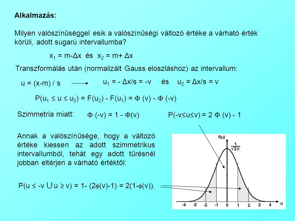 x 1 = m-Δx és x 2 = m+ Δx Alkalmazás: Milyen valószínűséggel esik a valószínűségi változó értéke a várható érték körüli, adott sugarú intervallumba.