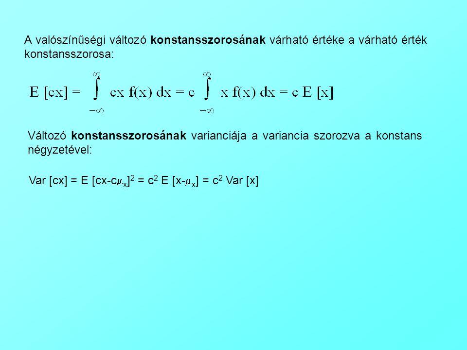 A valószínűségi változó konstansszorosának várható értéke a várható érték konstansszorosa: Változó konstansszorosának varianciája a variancia szorozva a konstans négyzetével: Var [cx] = E [cx-c  x ] 2 = c 2 E [x-  x ] = c 2 Var [x]