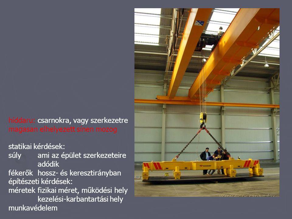 híddaru: csarnokra, vagy szerkezetre magasan elhelyezett sínen mozog statikai kérdések: súly ami az épület szerkezeteire adódik fékerőkhossz- és keres