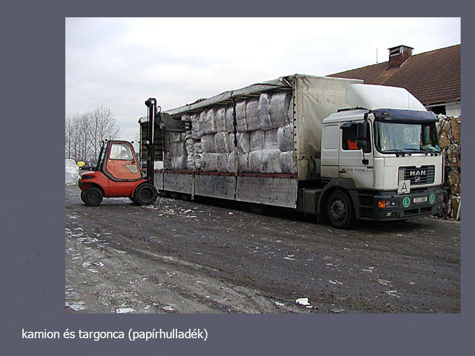 kamion és targonca (papírhulladék)