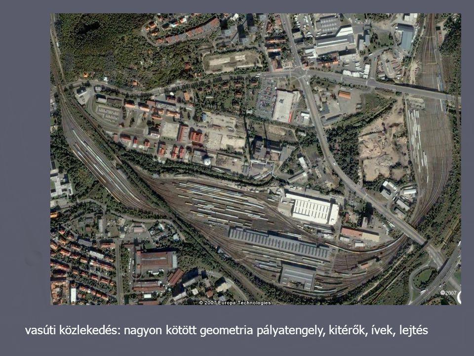 vasúti közlekedés: nagyon kötött geometria pályatengely, kitérők, ívek, lejtés