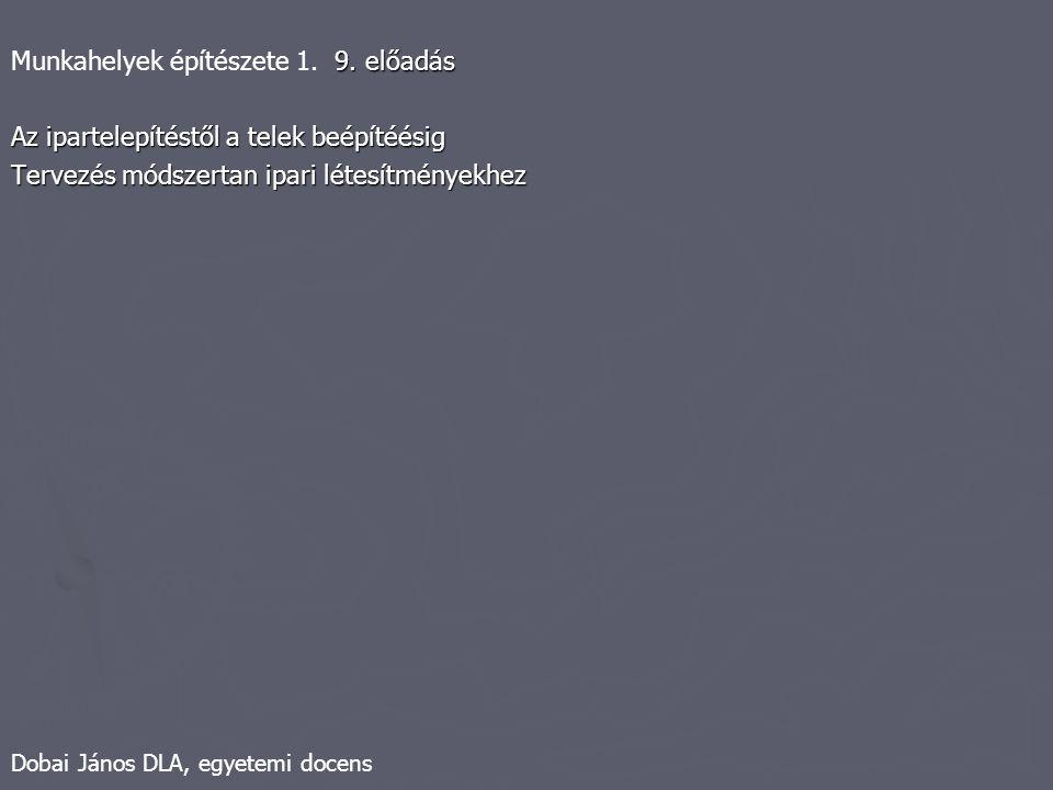 Dobai János DLA, egyetemi docens 9. előadás Munkahelyek építészete 1. 9. előadás Az ipartelepítéstől a telek beépítéésig Tervezés módszertan ipari lét