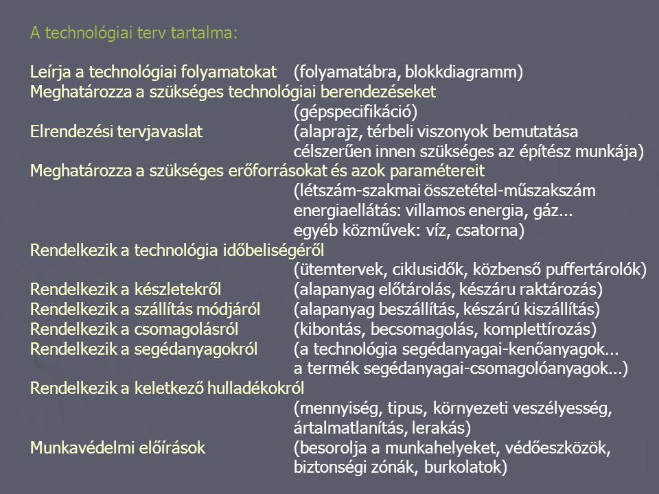 A technológiai terv tartalma: Leírja a technológiai folyamatokat (folyamatábra, blokkdiagramm) Meghatározza a szükséges technológiai berendezéseket (g