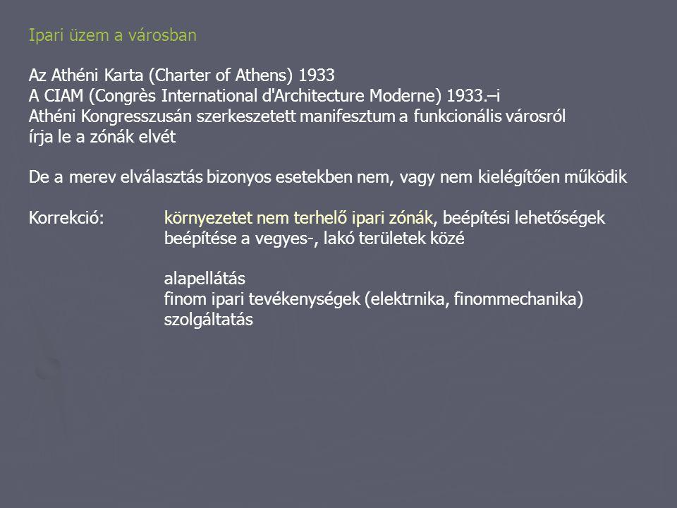 Ipari üzem a városban Az Athéni Karta (Charter of Athens) 1933 A CIAM (Congrès International d'Architecture Moderne) 1933.–i Athéni Kongresszusán szer