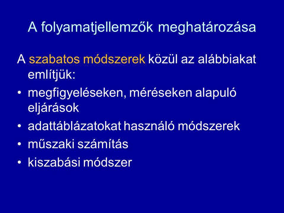 A folyamatjellemzők meghatározása A szabatos módszerek közül az alábbiakat említjük: megfigyeléseken, méréseken alapuló eljárások adattáblázatokat has