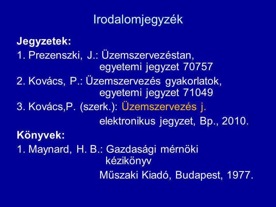 Irodalomjegyzék Jegyzetek: 1. Prezenszki, J.: Üzemszervezéstan, egyetemi jegyzet 70757 2. Kovács, P.: Üzemszervezés gyakorlatok, egyetemi jegyzet 7104