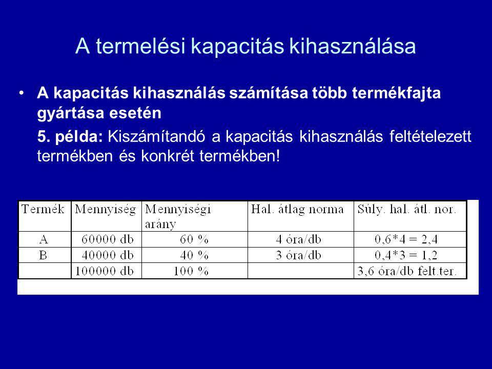 A termelési kapacitás kihasználása A kapacitás kihasználás számítása több termékfajta gyártása esetén 5. példa: Kiszámítandó a kapacitás kihasználás f