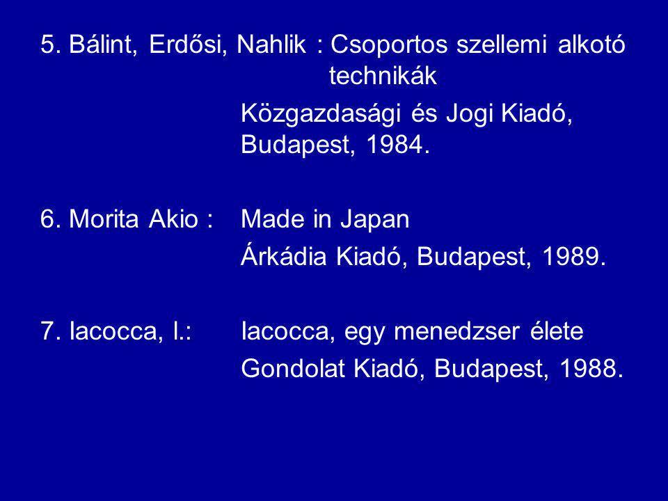 5. Bálint, Erdősi, Nahlik : Csoportos szellemi alkotó technikák Közgazdasági és Jogi Kiadó, Budapest, 1984. 6. Morita Akio :Made in Japan Árkádia Kiad