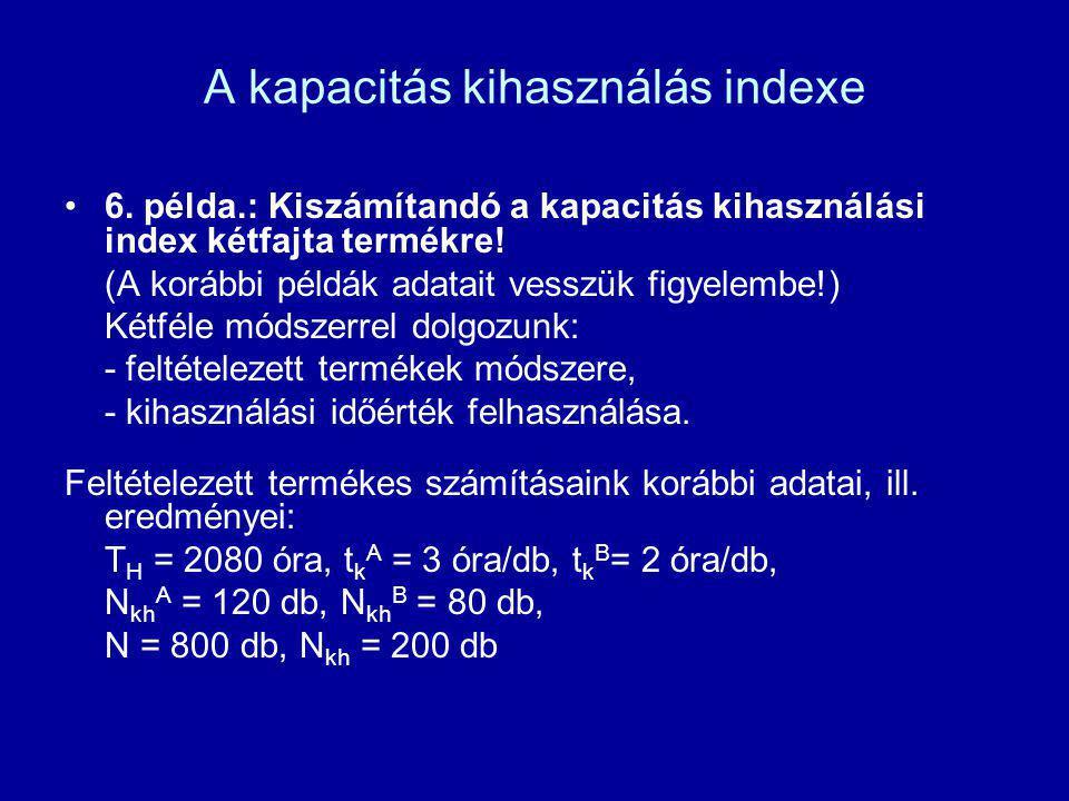 A kapacitás kihasználás indexe 6. példa.: Kiszámítandó a kapacitás kihasználási index kétfajta termékre! (A korábbi példák adatait vesszük figyelembe!