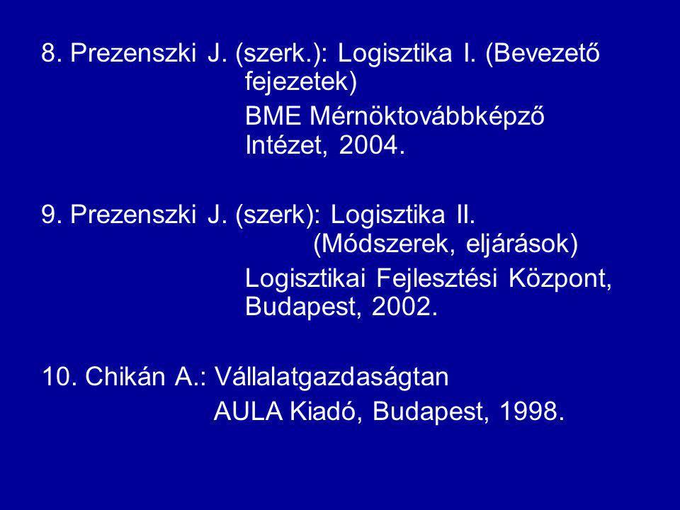 8. Prezenszki J. (szerk.): Logisztika I. (Bevezető fejezetek) BME Mérnöktovábbképző Intézet, 2004. 9. Prezenszki J. (szerk): Logisztika II. (Módszerek