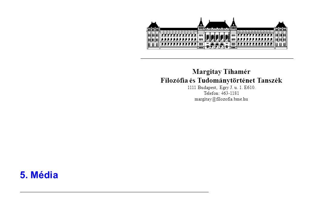 Margitay Tihamér Filozófia és Tudománytörténet Tanszék 1111 Budapest, Egry J. u. 1. E610. Telefon: 463-1181 margitay@filozofia.bme.hu 5. Média
