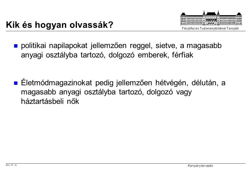 2014. 07. 12. Kampánytervezés Kik és hogyan olvassák? politikai napilapokat jellemzően reggel, sietve, a magasabb anyagi osztályba tartozó, dolgozó em