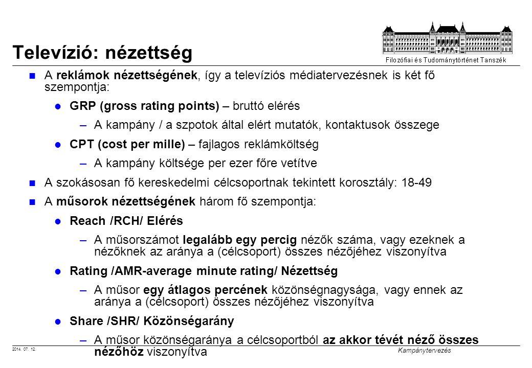 2014. 07. 12. Kampánytervezés Televízió: nézettség A reklámok nézettségének, így a televíziós médiatervezésnek is két fő szempontja: GRP (gross rating