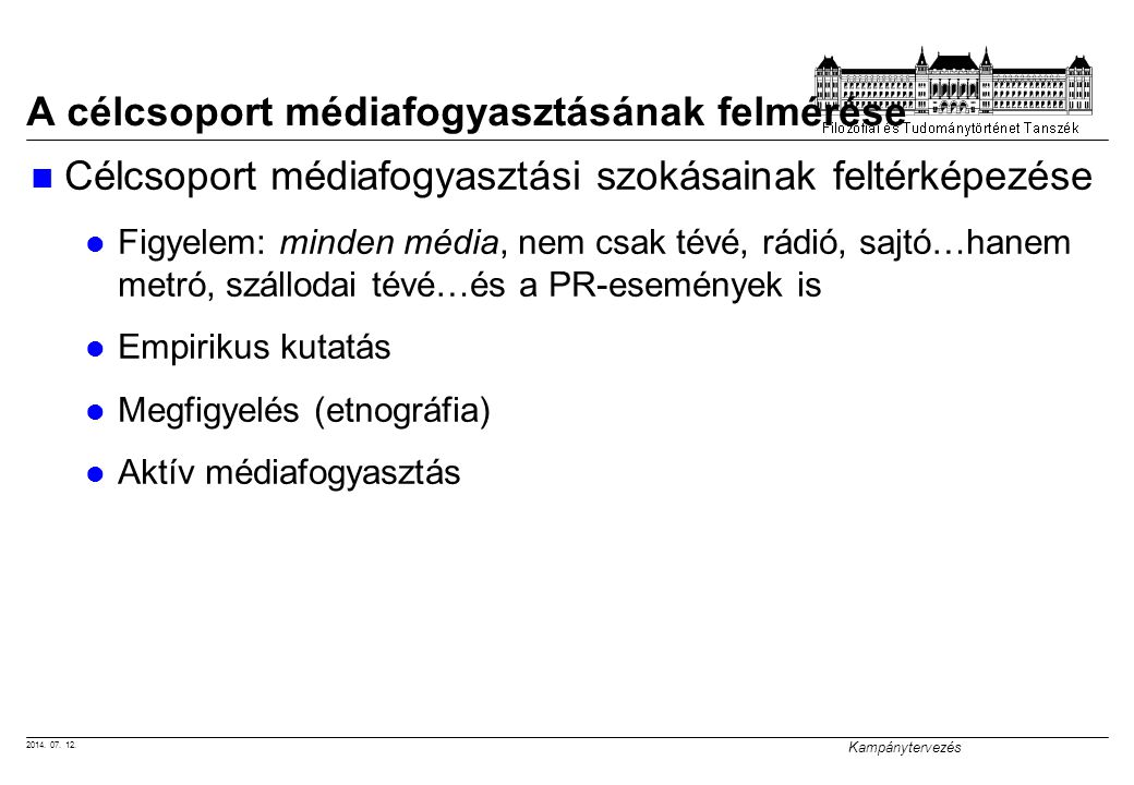 2014. 07. 12. Kampánytervezés A célcsoport médiafogyasztásának felmérése Célcsoport médiafogyasztási szokásainak feltérképezése Figyelem: minden média