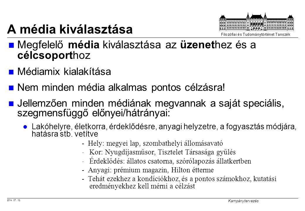 2014. 07. 12. Kampánytervezés A média kiválasztása Megfelelő média kiválasztása az üzenethez és a célcsoporthoz Médiamix kialakítása Nem minden média