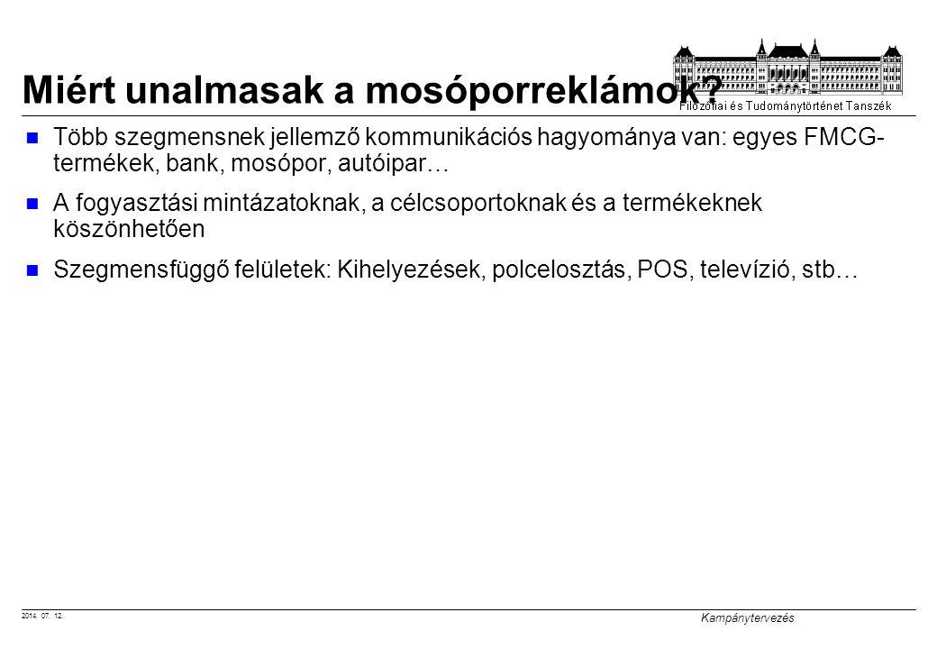 2014. 07. 12. Kampánytervezés Miért unalmasak a mosóporreklámok? Több szegmensnek jellemző kommunikációs hagyománya van: egyes FMCG- termékek, bank, m