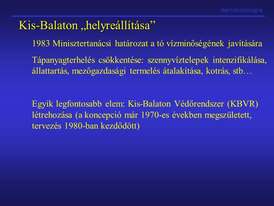 """Mérnökökológia Kis-Balaton """"helyreállítása 1983 Minisztertanácsi határozat a tó vízminőségének javítására Tápanyagterhelés csökkentése: szennyvíztelepek intenzifikálása, állattartás, mezőgazdasági termelés átalakítása, kotrás, stb… Egyik legfontosabb elem: Kis-Balaton Védőrendszer (KBVR) létrehozása (a koncepció már 1970-es években megszületett, tervezés 1980-ban kezdődött)"""