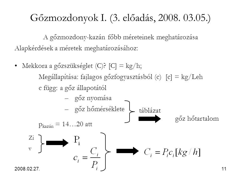 2008.02.27.11 Gőzmozdonyok I. (3. előadás, 2008. 03.05.) A gőzmozdony-kazán főbb méreteinek meghatározása Alapkérdések a méretek meghatározásához: Mek