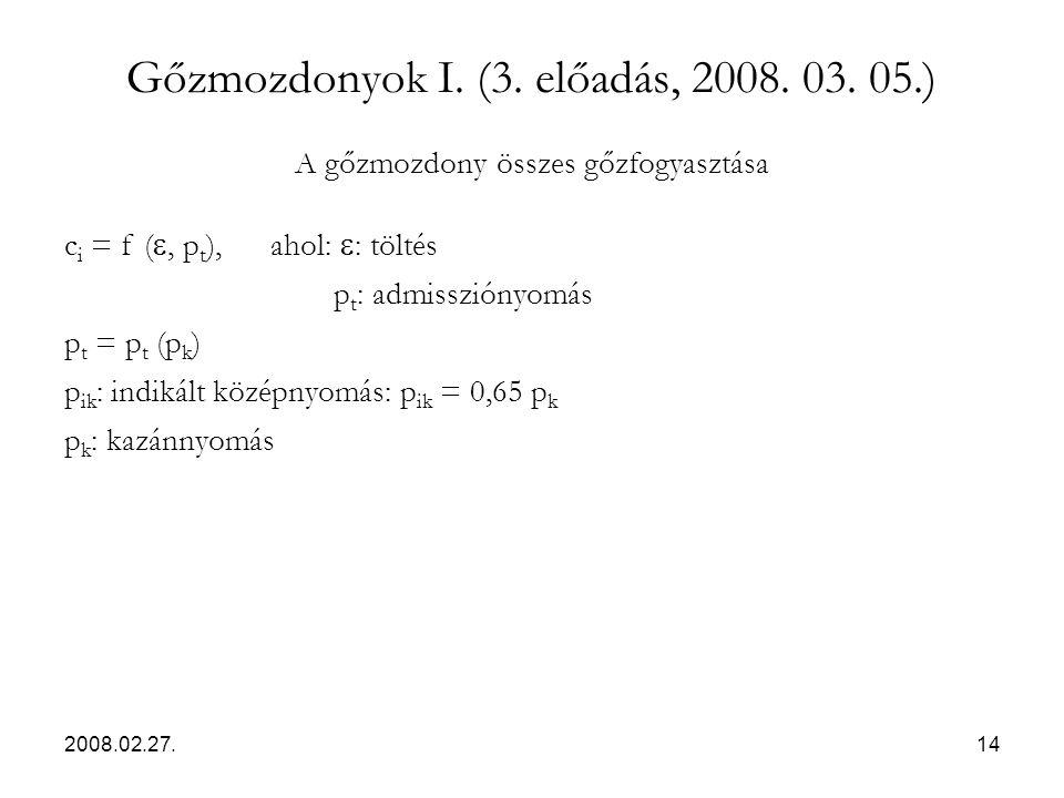 2008.02.27.14 Gőzmozdonyok I. (3. előadás, 2008. 03. 05.) A gőzmozdony összes gőzfogyasztása c i = f ( , p t ), ahol:  : töltés p t : admissziónyomá