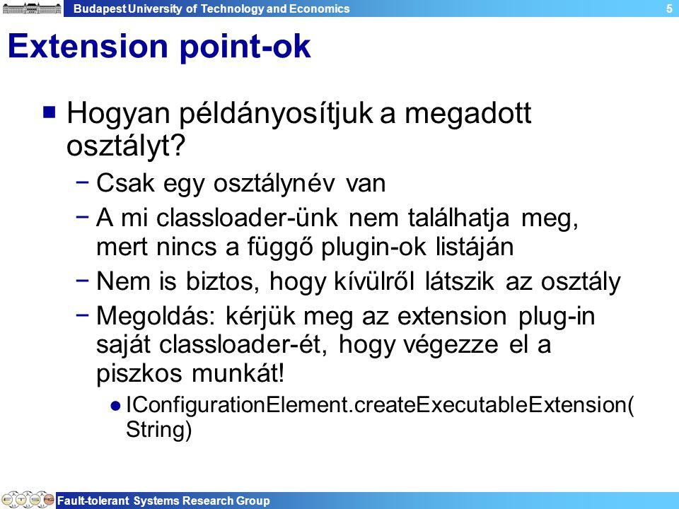 Budapest University of Technology and Economics Fault-tolerant Systems Research Group 5 Extension point-ok  Hogyan példányosítjuk a megadott osztályt.