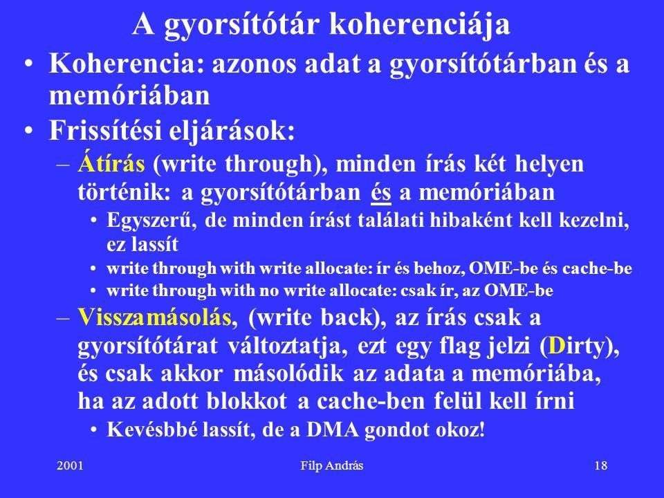 2001Filp András18 A gyorsítótár koherenciája Koherencia: azonos adat a gyorsítótárban és a memóriában Frissítési eljárások: –Átírás (write through), m