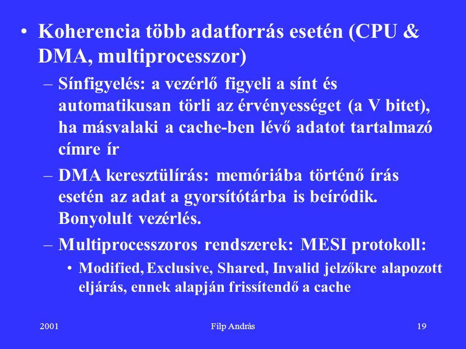 2001Filp András19 Koherencia több adatforrás esetén (CPU & DMA, multiprocesszor) –Sínfigyelés: a vezérlő figyeli a sínt és automatikusan törli az érvé