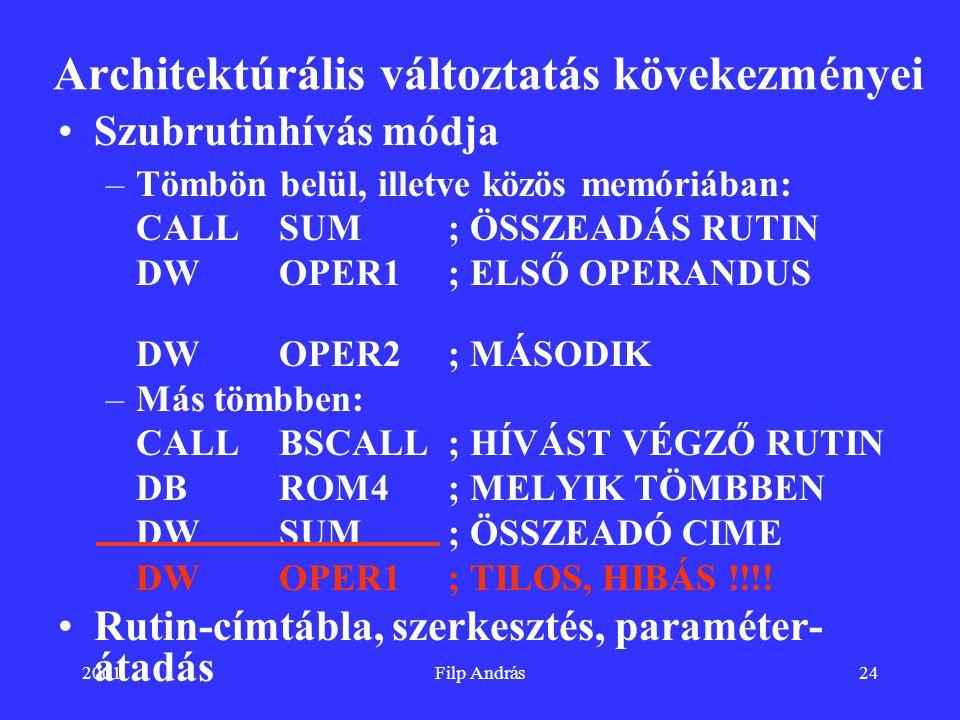 2001Filp András24 Architektúrális változtatás kövekezményei Szubrutinhívás módja –Tömbön belül, illetve közös memóriában: CALL SUM; ÖSSZEADÁS RUTIN DW