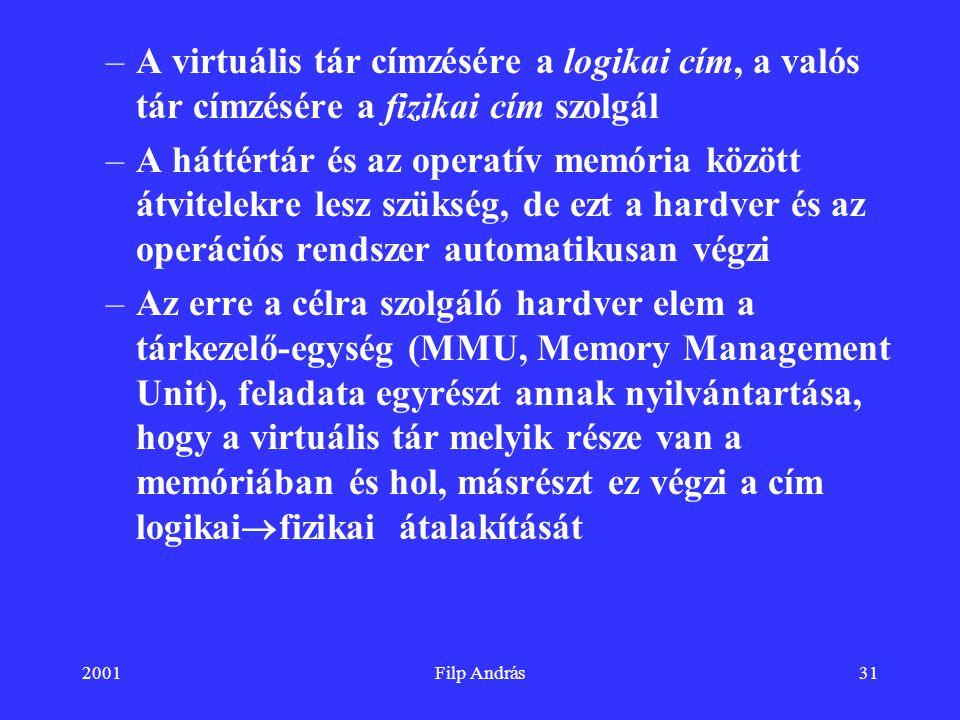 2001Filp András31 –A virtuális tár címzésére a logikai cím, a valós tár címzésére a fizikai cím szolgál –A háttértár és az operatív memória között átv