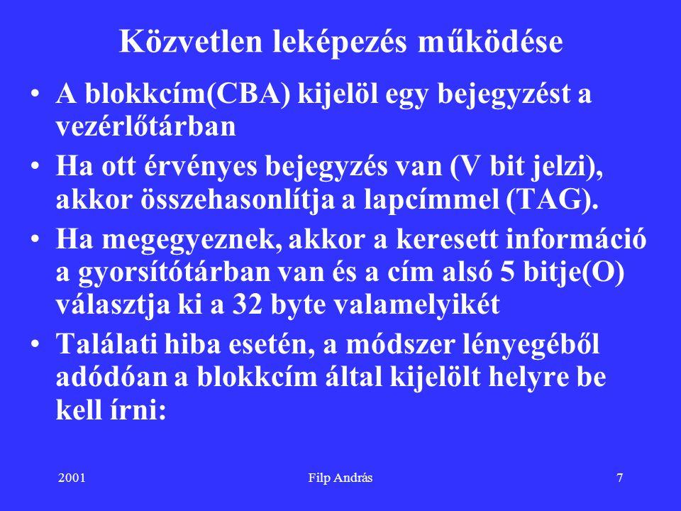 2001Filp András7 Közvetlen leképezés működése A blokkcím(CBA) kijelöl egy bejegyzést a vezérlőtárban Ha ott érvényes bejegyzés van (V bit jelzi), akko