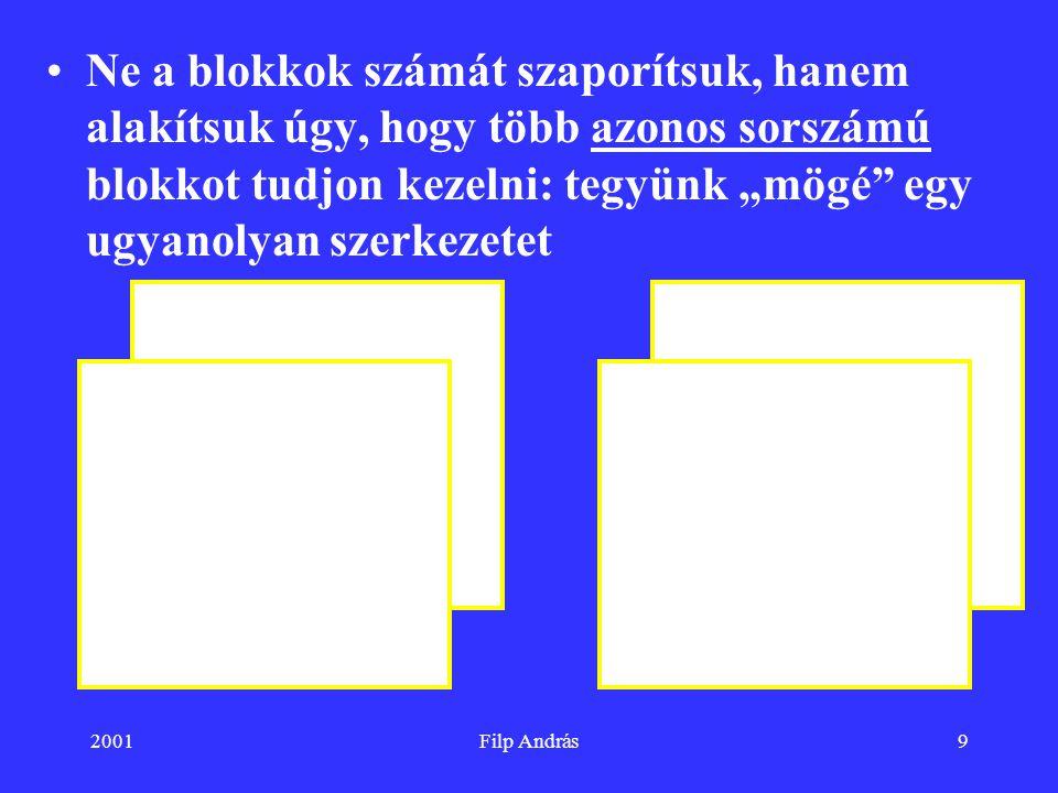 """2001Filp András9 Ne a blokkok számát szaporítsuk, hanem alakítsuk úgy, hogy több azonos sorszámú blokkot tudjon kezelni: tegyünk """"mögé"""" egy ugyanolyan"""